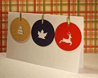 Set of 6 large round tag labels for Christmas
