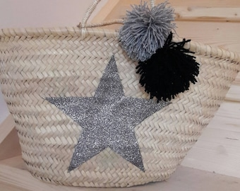 Palm star basket silver and glitter tassels
