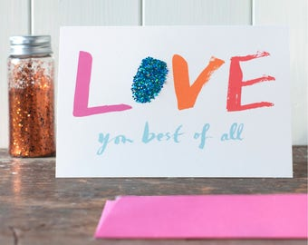 Love you best of all, valentine card, anniversary, luxury, lettering, love card, valentine's day, red or pink, envelope, for her, for him