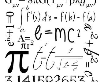 Math Geek Graphic Clip Art; math & science formulas, e=mc2, pi, svg cut file; cutting file; vinyl stencil; vector; cricut, silhouette