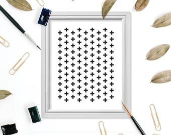 Scandinavian Art Print, Scandinavian Wall Art, Scandinavian Digital Print, Swiss Cross Art, Swiss Cross Print, Swiss Cross Sign, Modern Art