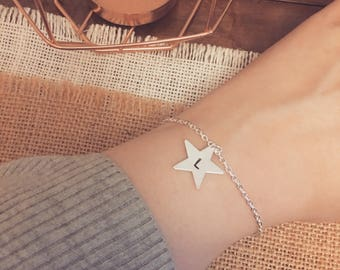 Hand Stamped Personalised Initial Star Charm Bracelet - Available in gold or silver plated