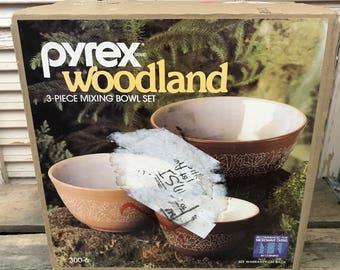 Vintage NIB 3 Piece Mixing Bowl Set~Vintage Kitchen, Vintage Pyrex, Retro Kitchen, New Old Stock, Movie Prop,Brown and Tan Bowls