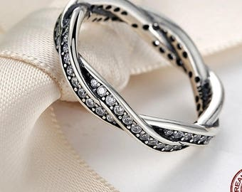 Sterling Silver Crystal Pandora style Ring Fashion ring style