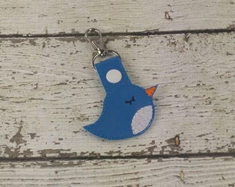 Bird Snap Tab Keychain - Bag Tag - Small Gift - Gift for Her - Thank You Gift - Bag Accessory - Zipper Pull
