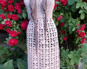 Pink crochet dress.