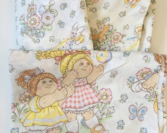 Vintage 1983 Cabbage Patch Kids Twin Fitted Flat Sheet Set VGUC