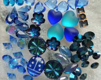 Vintage Hearts Flowers Swarovski Blue Sapphire Capri Metallic Chatons Unfoiled loose crystals Cabs for floating lockets jewelry design USA