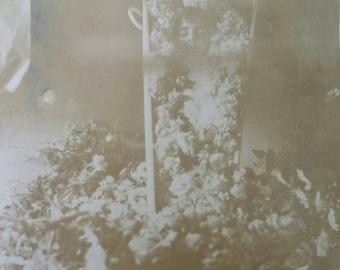 Antique post mortem child in casket photo