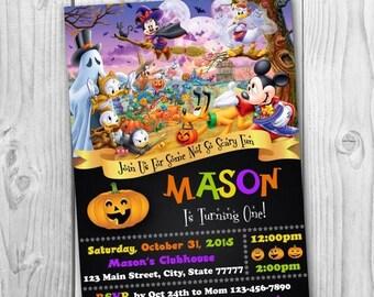 Mickey Mouse Halloween Invitation - Disney Halloween Invitation - Mickey Mouse Halloween - Halloween invitation