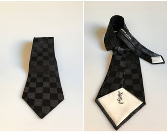 YSL Vintage Silk Tie / Vintage Black Silk Tie Yves Saint Laurent / Man Necktie  / Vintage YSL black Necktie /  Man Black Tie / Wedding Ties