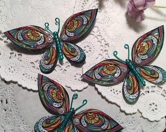 Disco Stained Glass Beaded Bodied Butterflies DarlingArtByValeri Set for Scrapbooking Embellishment Mini Albums Cards Wedding Gifts