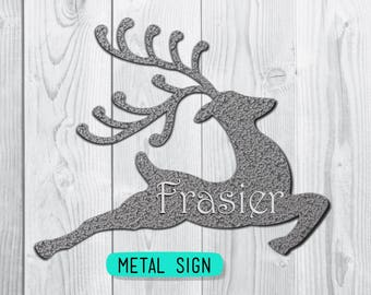 Metal Reindeer Decor / Personalized Sign / Merry Christmas / Holiday Wall Art / Front Door Decoration / Silver Reindeer / Copper Christmas