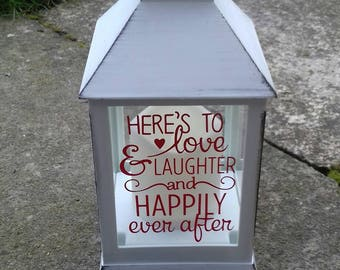 Here's To Love And Laughter And Happily Ever After Candle Holder, Wedding Gifts, Electric Candles, Lantern Candle Holders, Engagement Gifts