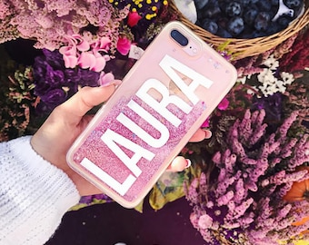 Custom Name Glitter Phone Case Clear Case For iPhone 8 iPhone 8 Plus - iPhone X - iPhone 7 Plus - iPhone 6 - iPhone 6S - iPhone SE  iPhone 5
