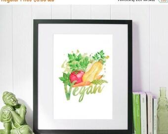 SALE Vegan Print Kitchen Print Vegan Wall Art Watercolor Print Vegan Home Decor Vegetarian Digital Print Vegan Illustration Downloadable Pri