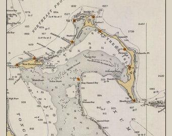Eleuthera Island Map - The Bahamas - 1933 (portrait)