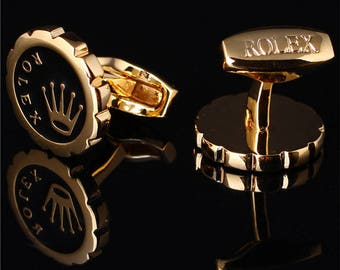 ROLEX Crown Cufflinks in Yellow Gold Classic Plated