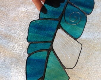 Blue Green Stainglass Textured Feather