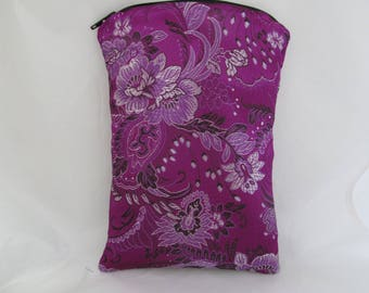 Brocade Tarot Card Bag Violet Purple Floral with Black Satin Lining and Zipper Dice Makeup Pouch Fancy