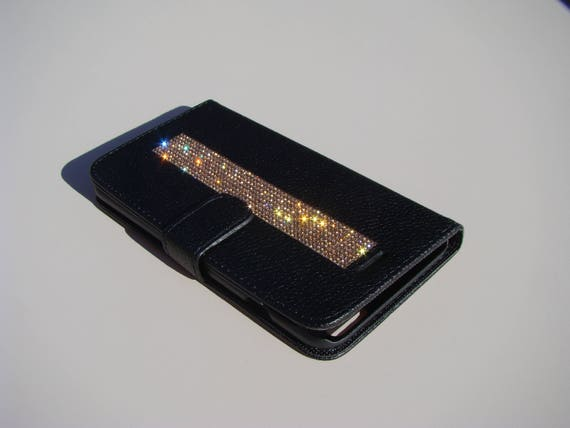 iPhone 7 Plus Case Rose Gold Rhinestone Crystals on Black Wallet Case. Velvet/Silk Pouch bag Included, Genuine Rangsee Crystal Cases.