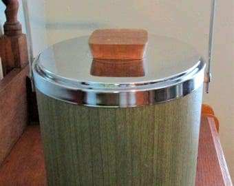 Vintage Kromex Ice Bucket Avocado Green Woodgrain