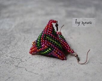 3D triangle shape earrings