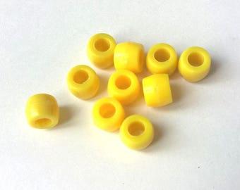 Lot de 10 perles ronde tube plastique acrylique JAUNE 0,6 x 0,7 cm création bijoux activités enfants manuelles