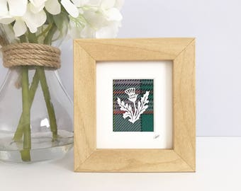 Mini THISTLE frame, Scottish thistle art, Tartan gift for her, Flower of Scotland frame, thistle gift, Scottish gift, Tweed artwork