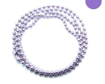 NECKLACE 60cm ball chain 2.2 mm LILAC