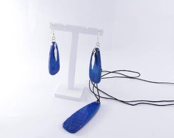 """Surf"" set: earrings and pendant"