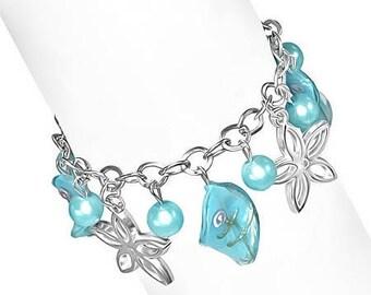 Daisy Chain Lamp Work Glass Bead Charm Bracelet ~ Three Colors to Choose