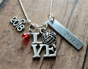 Volleyball Necklace, Water Polo, Hand Stamped, Personalized, Volleyball Charm, Class of 2018, Senior Gift, Graduation Gift
