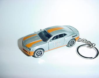 3D Chevrolet Camaro SS custom keychain by Brian Thornton keyring key chain finished in silver/orange color trim