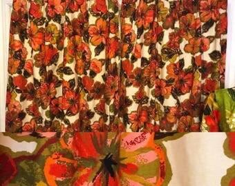 Vintage 1960s Curtains   Hawaiian Tiki Retro Drapes