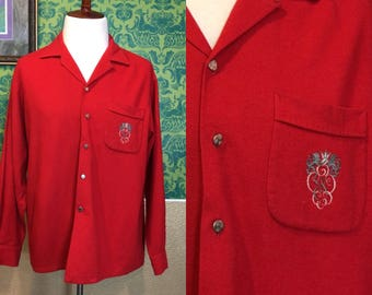 Vintage 1950s Shirt - Men's Red Wool Button Up with Crest - XL