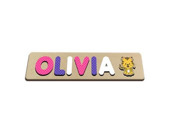 Jungle Friends Personalized Wooden Name Puzzle With Tiger A Elephant Pink & Purple Polka Dots Personalized Gift for Girl 586210189