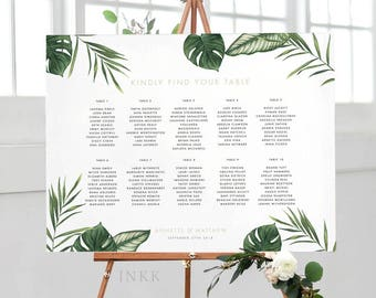 Printable Seating Chart Poster - Modern Tropical Foliage Wedding Seat Chart - Wedding Seating Chart - Ready to Print PDF - (Item code: P407)