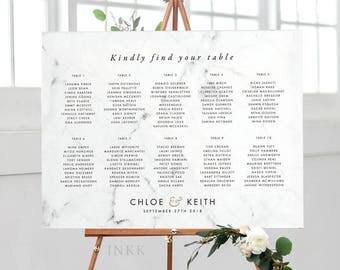 Printable Seating Chart Poster - Wedding Seat Chart PDF Download - Wedding Seating Chart Printable - Ready to Print PDF - (Item code: P445)