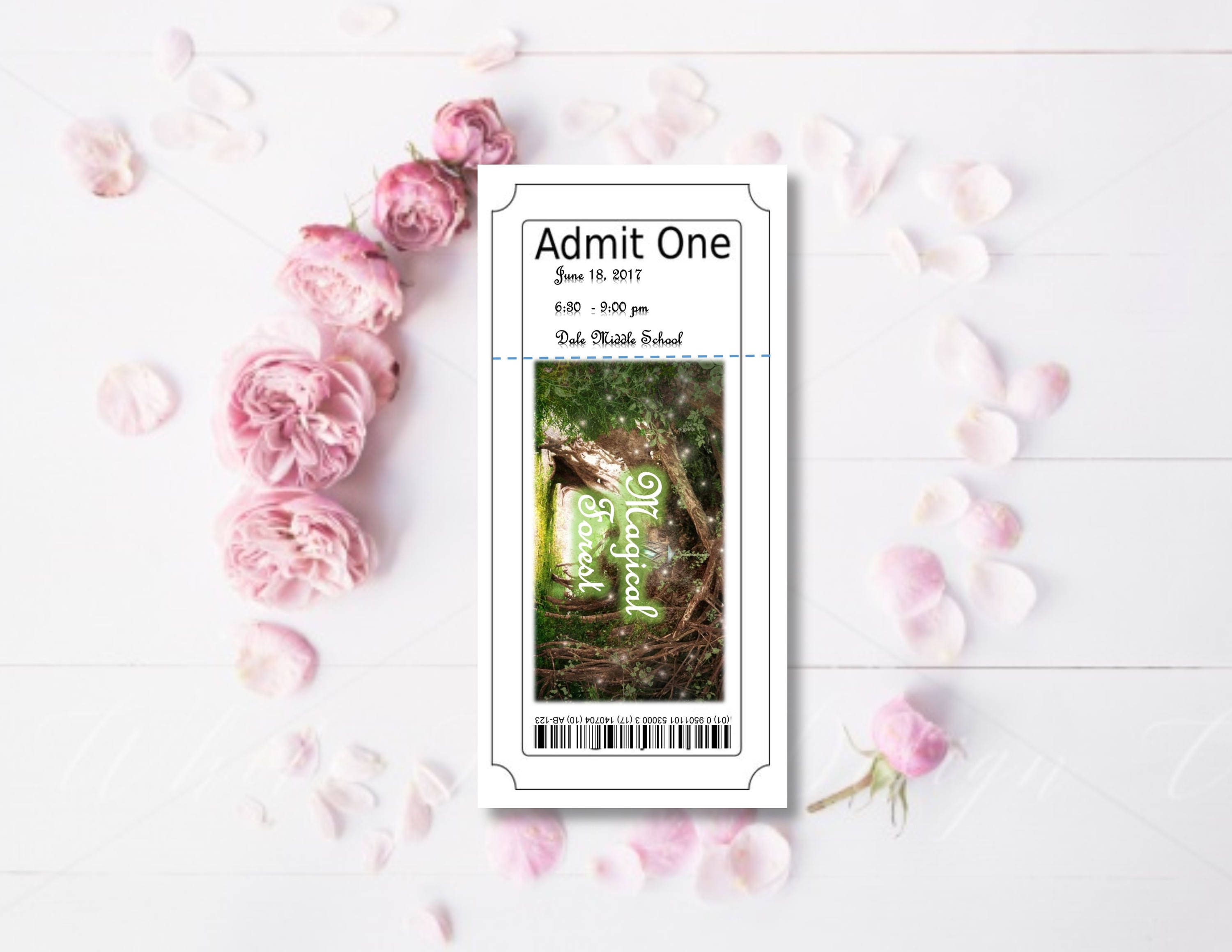 Magical Forest Ticket School DancePromHomecoming InvitationCard