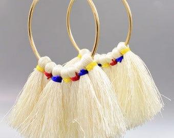 Long Tassel Hoop Earrings