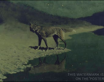 Poster, Many Sizes Available; Moonlight Wolf, C. 1909 Frederic Remington