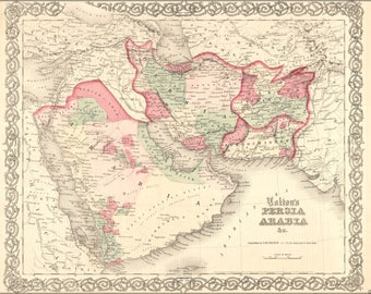 Poster, Many Sizes Available; Map Of Persia Saudi Arabia Iraq Iran 1865