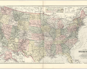 Poster, Many Sizes Available; Gray'S New Map Of The United States Of America 1893