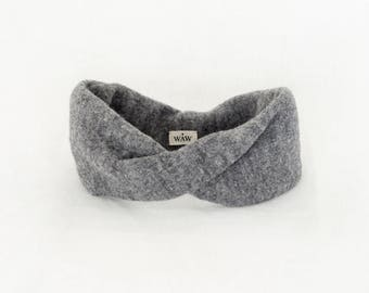 Heather grey headband way turban 100% wool