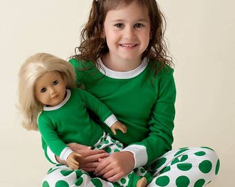 PREORDER Green personalized polka dot Christmas pajamas,embroidered Christmas outfit,Winter pajamas,Children's personalized, Matching family