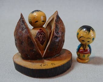 Adorable Japanese Carved Wood Doll in a Nutshell with Mini Bobblehead Friend