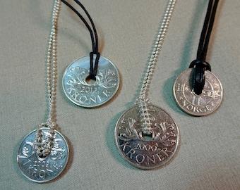 Norwegian 1 or 5 Kroner Coin Pendant Necklace