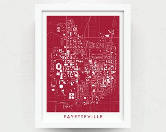 FAYETTEVILLE ARKANSAS Map Print - Home Decor - Office Decor - Art - Poster - Wall Art - Razorbacks Gift - University of Arkansas Gift