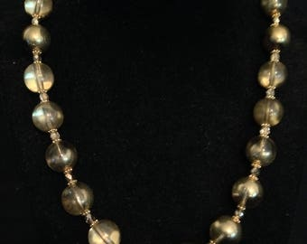 Half Gold Bead Necklace and Earrings